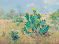 Paintings, PORFIRIO SALINAS (American, 1910-1973). Landscape with Flowering Cactus. Oil on canvas laid on board. 12 x 16 inches (30...