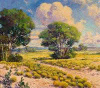 FRANZ STRAHALM (American, 1879-1935) Landscape with Cactus and Trees Oil on canvas 25 x 32 inches
