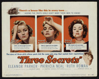 "Three Secrets (Warner Brothers, 1950). Title Lobby Card (11"" X 14"") and Lobby Cards (6) (11"" X 14"")..."