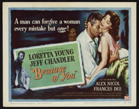 """Because of You (Universal International, 1952). Lobby Card Set of 8 (11"""" X 14""""). Romance. ... (Total: 8 Items)"""