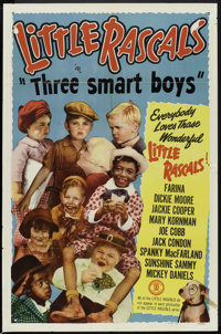 "Little Rascals Stock Poster (Monogram, R-1950). One Sheet (27"" X 41"") ""Three Smart Boys."" Comedy..."