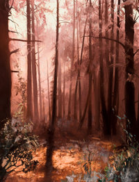 OLEG STAVROWSKY (Russian/American, b. 1927) Untitled (Sunrise in the Forest) Oil on canvas 34 x 2