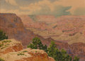 Fine Art - Painting, European, GUNNAR MAURITZ WIDFORSS (Swedish, 1879-1934). A View of the Grand Canyon. Watercolor on paper. 10 x 13-1/2 inches (25.4 ...