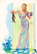 Pin-up and Glamour Art, JOYCE BALLANTYNE (American, 1918-2006). Putting Out Kitty.Gouache on board. 19.5 x 13.5 in.. Signed lower right. ...