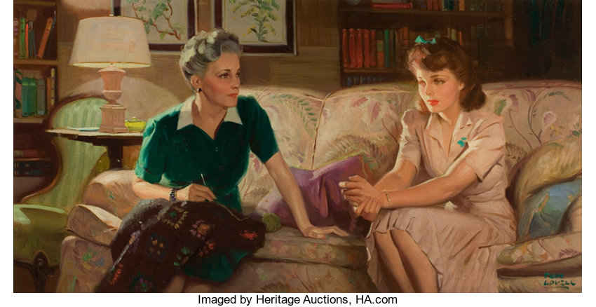 Tom Lovell American 1909 1997 The Conversation Oil On Canvas Lot 87195 Heritage Auctions