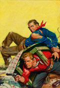 Pulp, Pulp-like, Digests, and Paperback Art, RICHARD LILLIS (American, 1899-1995). Gunfight, pulp cover.Oil on canvas. 26 x 18 in.. Not signed. ...