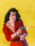 Pulp, Pulp-like, Digests, and Paperback Art, EARLE K. BERGEY (American, 1901-1952). Girl Returning Fire, truecrime magazine cover. Oil on canvas. 29 x 22 in.. Signe...