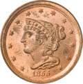 Half Cents, 1855 1/2 C MS65 Red PCGS....
