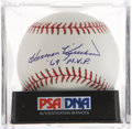 Autographs:Baseballs, Harmon Killebrew Single Signed Baseball PSA Mint+ 9.5. ...