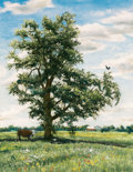Texas:Early Texas Art - Regionalists, EMILY GUTHRIE SMITH (American, 1909-1986). Landscape withTree. Oil pastel on paper. 27-1/2 x 21-1/2 inches (69.9 x54.6...