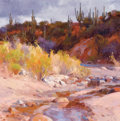 Paintings, KEVIN MACPHERSON (American, b. 1956). Dessert Arroyo. Oil on canvas. 16 x 16 inches (40.6 x 40.6 cm). Signed lower left:...