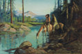 Western:20th Century, GORDON COUTTS (American, 1880-1937). Indian Scouts . Oil on board. 24 x 36 inches (61.0 x 91.4 cm). Signed lower right: ...