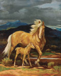 Paintings, OLAF WIEGHORST (American, 1899-1988). Palomino Mare and Colt. Oil on canvas. 20 x 16-1/4 inches (50.8 x 41.3 cm). Signed...