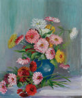 "Texas:Early Texas Art - Impressionists, R. J. ""NANNIE"" HUDDLE (American, 1795-1895). Untitled (StillLife with Zinnias). Oil on canvas. 22 x 26 inches (55.9 x 6..."