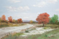 Texas:Early Texas Art - Regionalists, JIM DOOLEY (American, 20th Century). Country Road in Autumn withPrickly Pear. Oil on canvas. 24 x 36 inches (61.0 x 91....