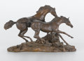 Western:20th Century, LANFORD MONROE (American, 1950-2000). Morning on the Montana Plains, 1984. Cast resin. 12 x 9 x 7 inches (30.5 x 22.9 x ...