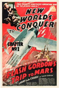 "Flash Gordon's Trip to Mars (Universal, 1938). One Sheet (27"" X 41"") Chapter 1 -- ""New Worlds to Conquer..."