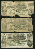 Confederate Notes:1862 Issues, T45 $1 1862. Three Examples.. ... (Total: 3 notes)