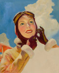 Mainstream Illustration, WILLIAM FULTON SOARE (American, 1896-1940). Aviator Girl.Oil on canvas. 25 x 20 in.. Signed lower left. ...