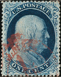 Stamps, 1c Blue, Type III (21),... (Total: 1 Slab)