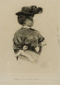 Mainstream Illustration, CHARLES DANA GIBSON (American, 1867-1944). Well-DressedWoman. Ink on paper. 17 x 12 in.. Not signed . ...
