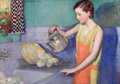 Mainstream Illustration, MCCLELLAND BARCLAY (American, 1891-1943). Washing theDishes. Oil on canvas. 24 x 34 in.. Signed upper left. ...