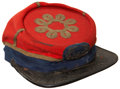 Military & Patriotic:Indian Wars, Colorful Gold-Trimmed Chasseur Cap of Famed Massachusetts Unit....