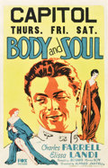"Movie Posters:War, Body and Soul (Fox, 1931). Window Card (14"" X 22"").. ..."