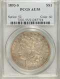 Morgan Dollars: , 1893-S $1 AU55 PCGS. PCGS Population (25/45). NGC Census: (22/38).Mintage: 100,000. Numismedia Wsl. Price for NGC/PCGS coi...