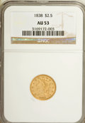 Classic Quarter Eagles: , 1838 $2 1/2 AU53 NGC. NGC Census: (22/146). PCGS Population (13/61). Mintage: 47,030. Numismedia Wsl. Price for NGC/PCGS co...