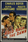 "Movie Posters:Romance, Hold Back the Dawn (Paramount, 1941). One Sheet (27"" X 41""). Romance. Starring Charles Boyer, Olivia de Havilland, Paulette ..."