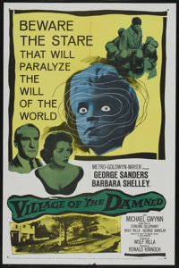 "Village of the Damned (MGM, 1960). One Sheet (27"" X 41""). Horror. Starring George Sanders, Barbara Shelley, Ma..."