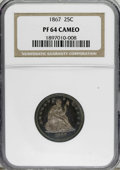 Proof Seated Quarters, 1867 25C PR64 Cameo NGC....