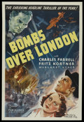 "Movie Posters:War, Bombs Over London (Film Alliance, 1939). One Sheet (27"" X 41"").War. Starring Charles Farrell, Margaret Vyner, Fritz Kortner..."