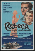 "Movie Posters:Hitchcock, Rebecca (United Artists, R-1950s). Argentinean One Sheet (29"" X41""). Hitchcock. Starring Laurence Olivier, Joan Fontaine, J..."