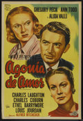 """Movie Posters:Hitchcock, The Paradine Case (Lippert, R-1954). Argentinean One Sheet (29"""" X41""""). Hitchcock. Starring Gregory Peck, Ann Todd, Charles ..."""