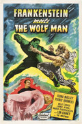"Movie Posters:Horror, Frankenstein Meets the Wolf Man (Realart, R-1949). One Sheet (27"" X41"").. ..."