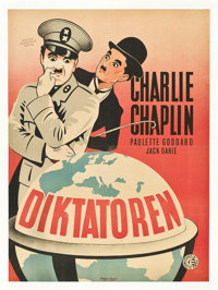 "The Great Dictator (Constantin Films, 1947). First Post-War Release Danish Poster (24"" X 33"")"