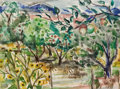 Fine Art - Work on Paper, BILL BOMAR (American, 1919-1991). Orchard, New Mexico, circa1948. Watercolor on paper. 11 x 15 inches (27.9 x 38.1 cm)...
