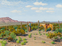 FRED DARGE (American, 1900-1978) Fixing the Fence (Ed Love Ranch, Sierra Blanca, Texas) Oil on artis