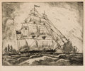 Prints, BLANCHE MCVEIGH (American, 1895-1970). Flagship Austin - Navy of the Republic of Texas, 1840-41.. Etching on paper. Imag...