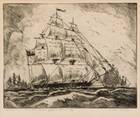BLANCHE MCVEIGH (American, 1895-1970) Flagship Austin - Navy of the Republic of Texas, 1840-41. Etch