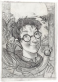 Mainstream Illustration, MARY GRANDPRÉ (American, b. 1954). Harry Potter, Time magazinecover concept, c. 1999. Pencil on vellum. 15.5 x 11 in.. ...