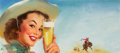 Pin-up and Glamour Art, GIL ELVGREN (American, 1914-1980). Shiner Texas Special, beer adillustration, 1953. Oil on board. 9 x 20 in.. Signed lo...(Total: 2 Items)