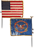 Military & Patriotic:Indian Wars, The United States Army Headquarters Flags of Lt. Gen. John McAllister Schofield, Commanding General from 1888 to 1895.... (Total: 2 Items)
