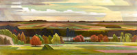 OLIN TRAVIS (American, 1888-1975) Lakeside, 1955 Oil on canvas 20-1/2 x 49 inches (52.1 x 124.5 c
