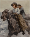 Paintings, WILLIAM HENRY DETHLEF KOERNER (American, 1878-1938). Riding the Range, 1909. Oil on canvas. 30 x 24 inches (76.2 x 61.0 ...