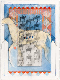 DONNA HOWELL-SICKLES (American, b. 1949) Horse, 1984 Mixed media on paper 22-3/4 x 30 inches (57