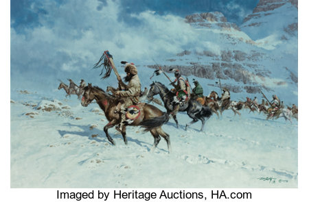 FRANK MCCARTHY (American, 1924-2002) By the Snow Moon, 1978 Oil on canvas laid on board 24 x 36 inches (61.0 x 91.4 c...