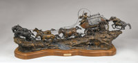 DANNY D. EDWARDS (American, b. 1947) Run to Silver City, 1991 Bronze with patina and paint 25 x 6